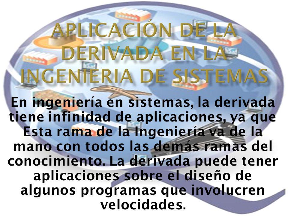APLICACIÓN DE LA DERIVADA EN LA INGENIERIA DE SISTEMAS