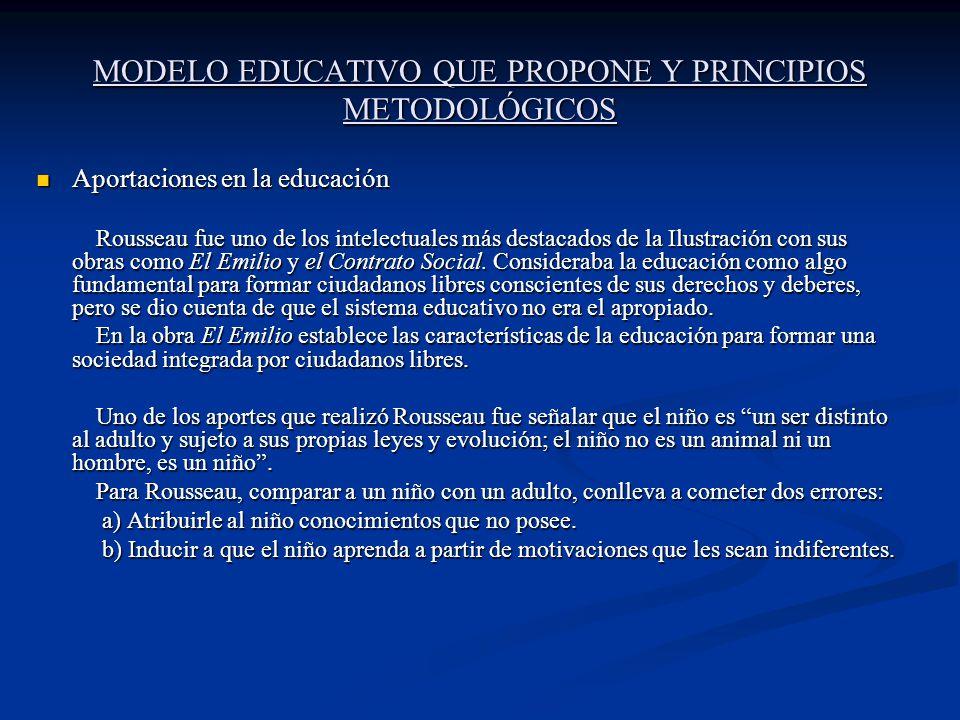 MODELO EDUCATIVO QUE PROPONE Y PRINCIPIOS METODOLÓGICOS