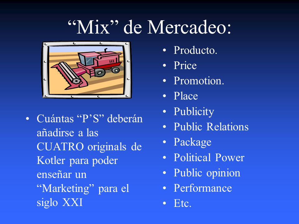 Mix de Mercadeo: Producto. Price Promotion. Place Publicity