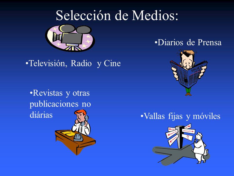 Selección de Medios: Diarios de Prensa Televisión, Radio y Cine