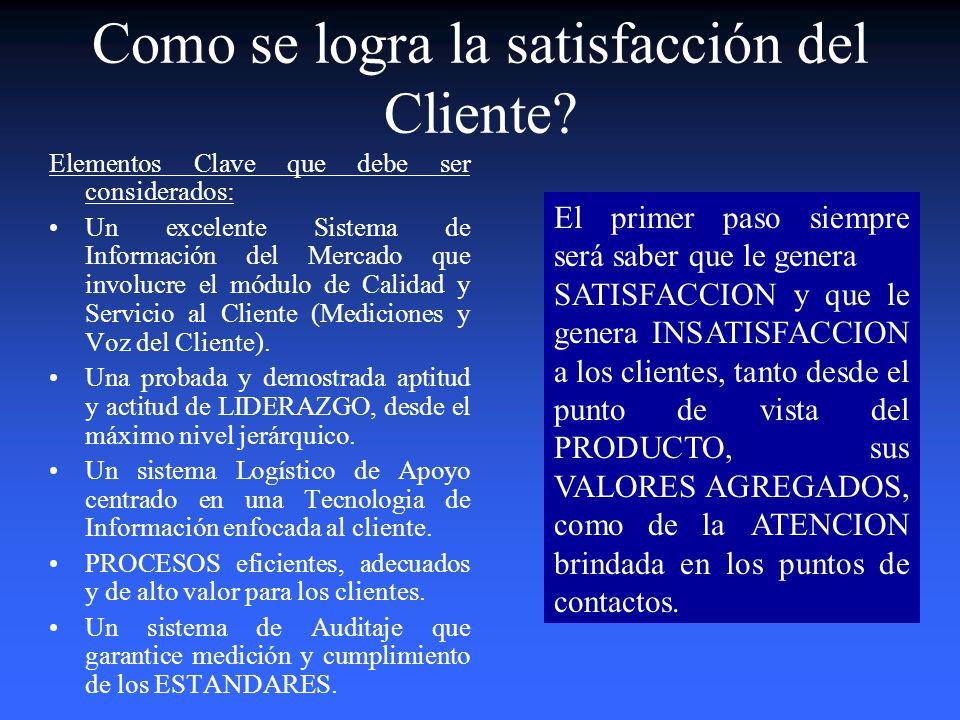 Como se logra la satisfacción del Cliente