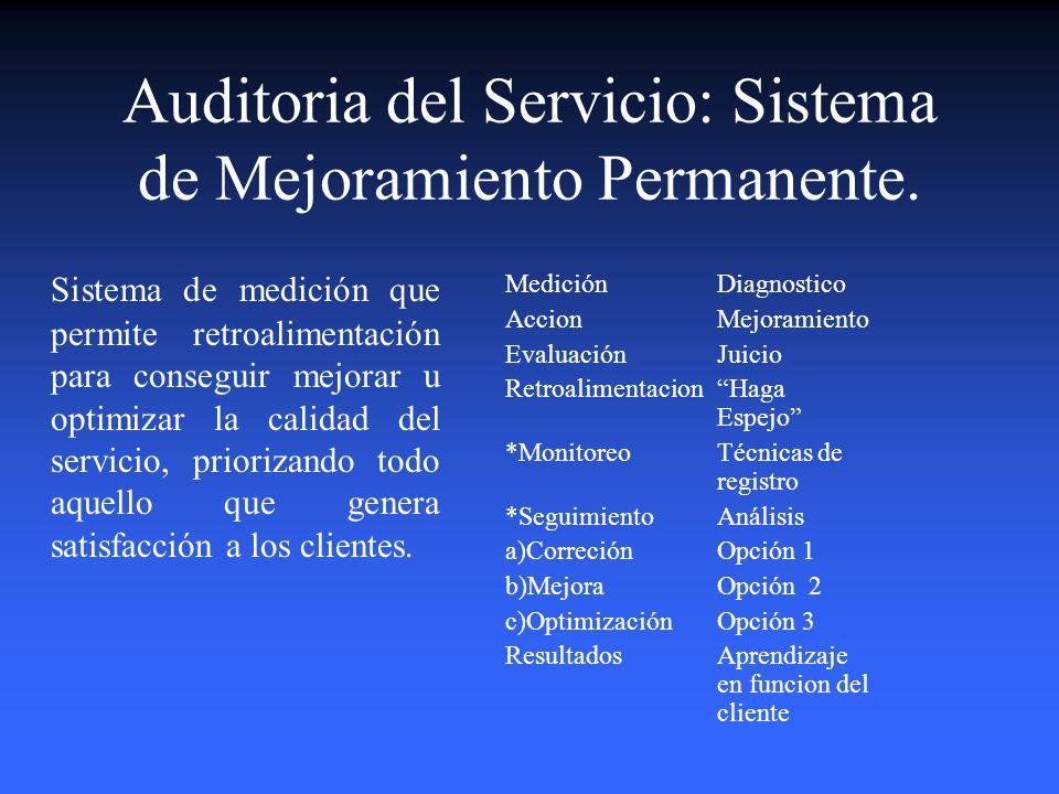 Auditoria del Servicio: Sistema de Mejoramiento Permanente.