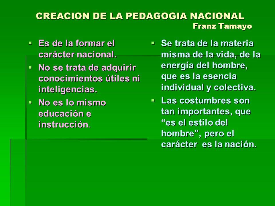 CREACION DE LA PEDAGOGIA NACIONAL Franz Tamayo