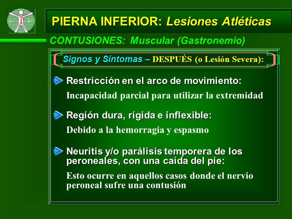 Signos y Síntomas – DESPUÉS (o Lesión Severa):