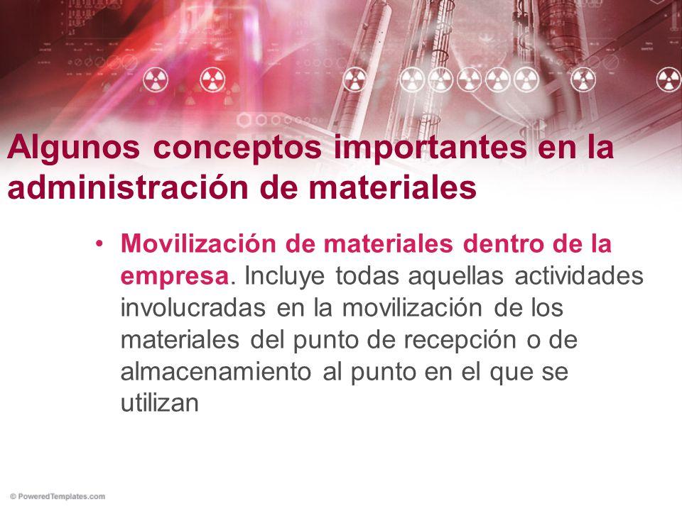 Algunos conceptos importantes en la administración de materiales