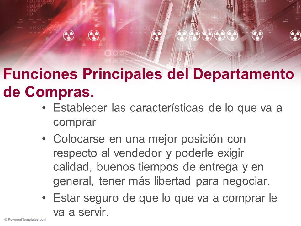 Funciones Principales del Departamento de Compras.