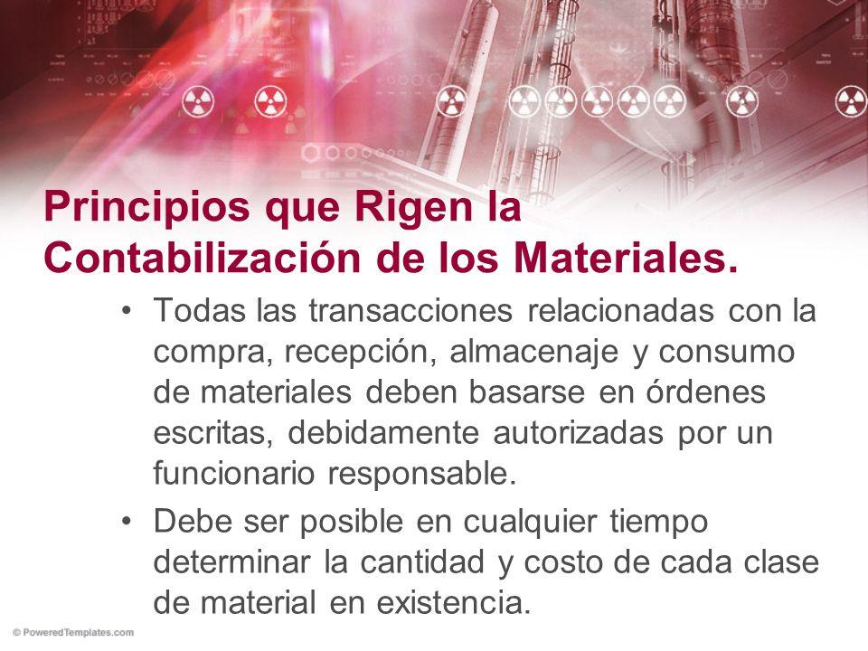 Principios que Rigen la Contabilización de los Materiales.