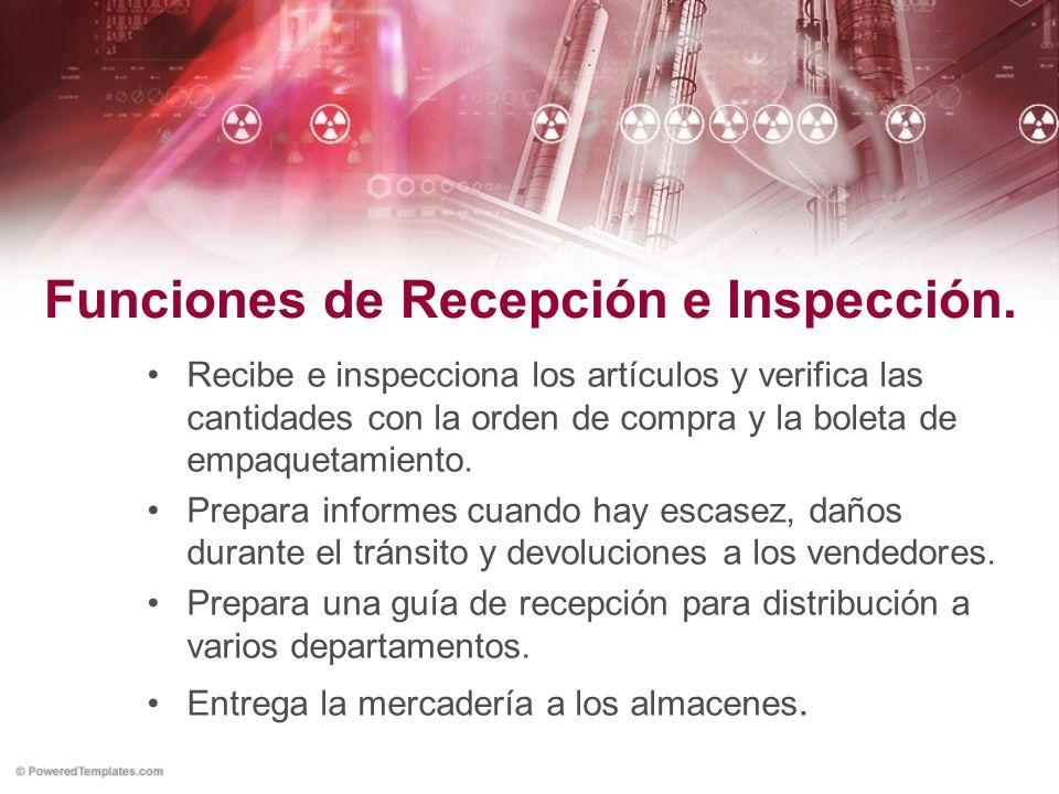 Funciones de Recepción e Inspección.