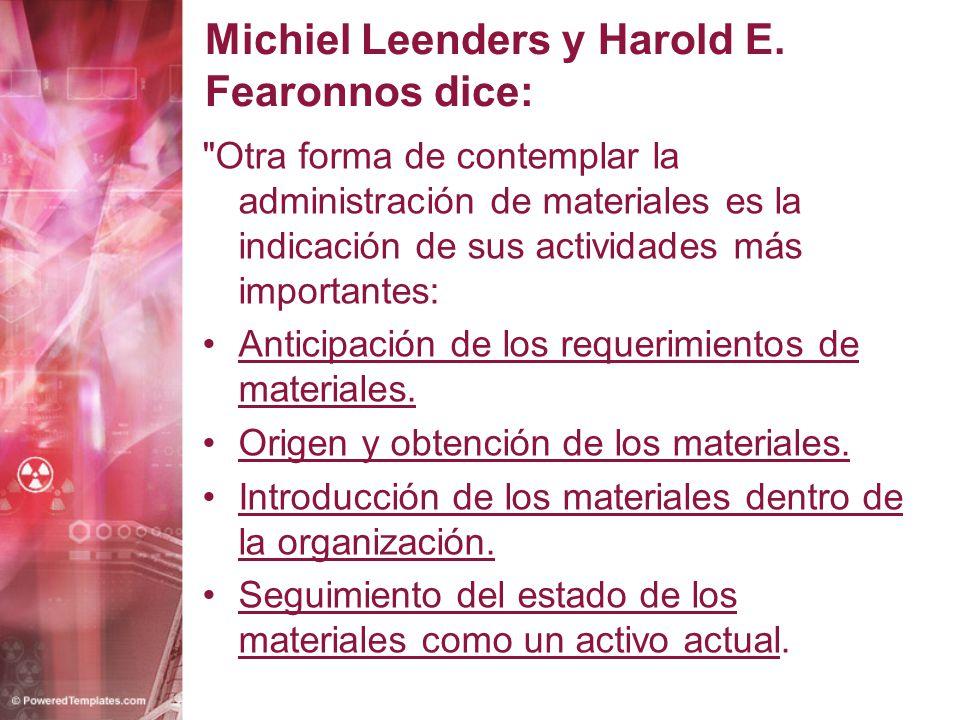 Michiel Leenders y Harold E. Fearonnos dice: