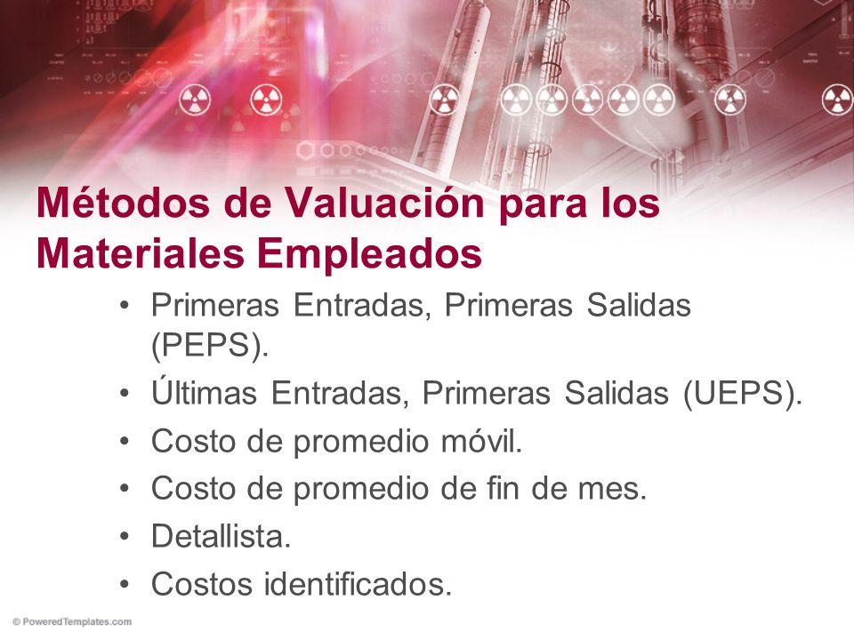 Métodos de Valuación para los Materiales Empleados