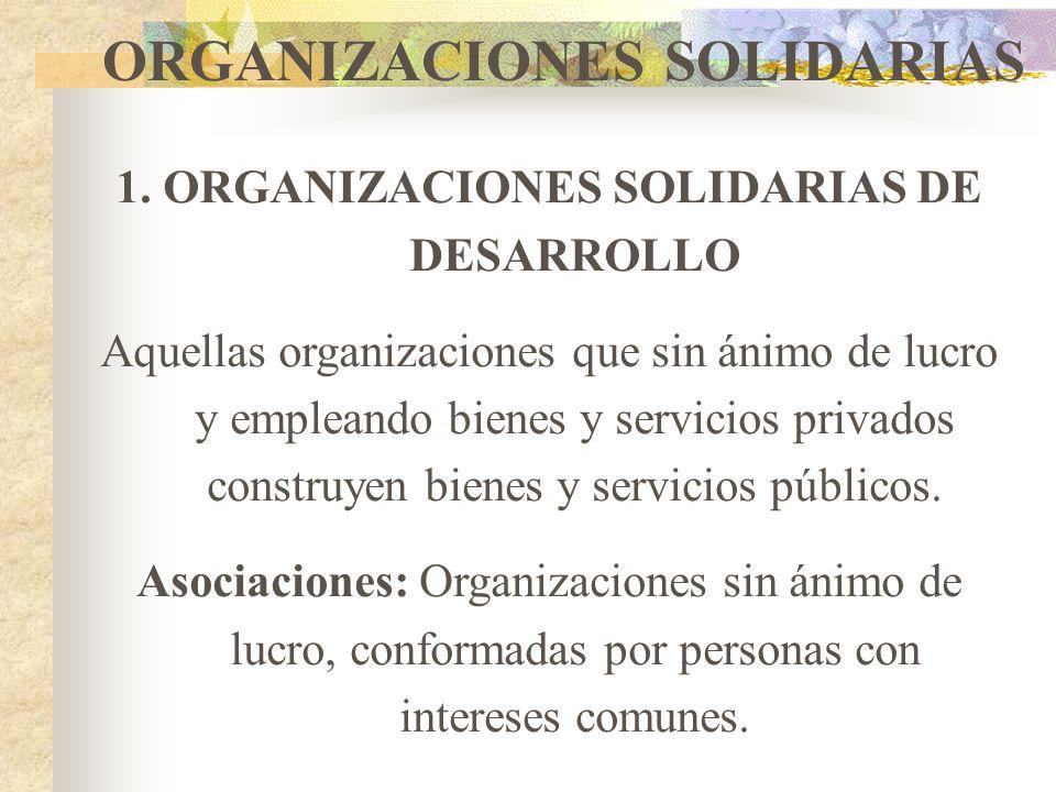 ORGANIZACIONES SOLIDARIAS 1. ORGANIZACIONES SOLIDARIAS DE DESARROLLO