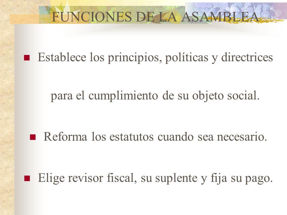 FUNCIONES DE LA ASAMBLEA
