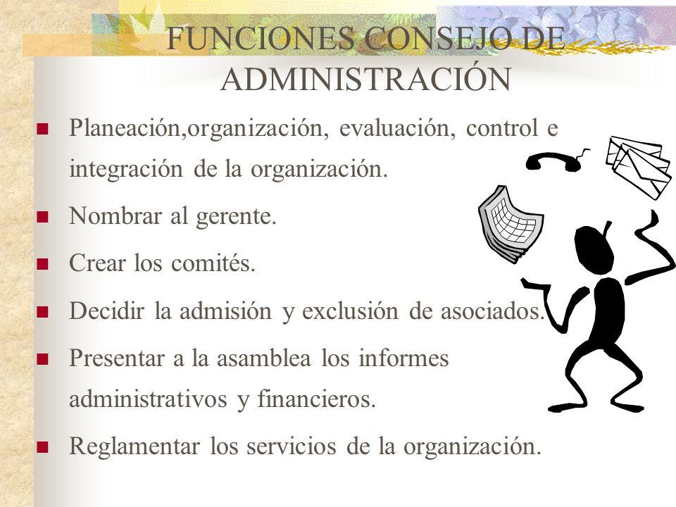 FUNCIONES CONSEJO DE ADMINISTRACIÓN