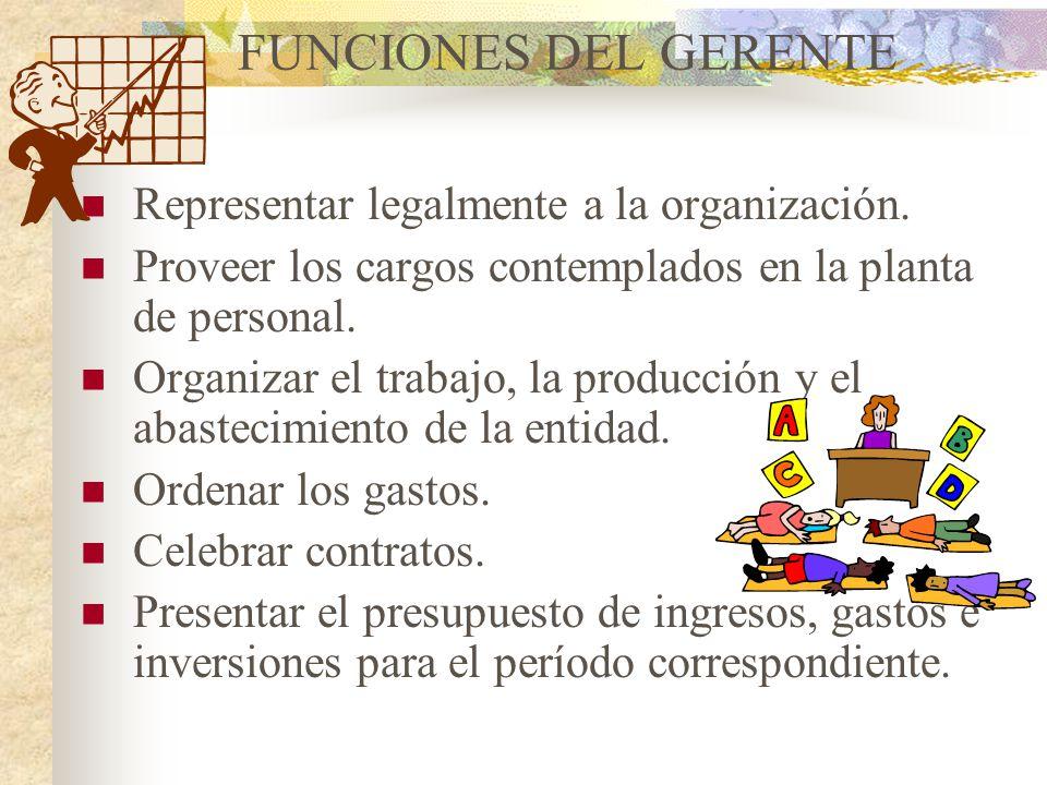 FUNCIONES DEL GERENTE Representar legalmente a la organización.