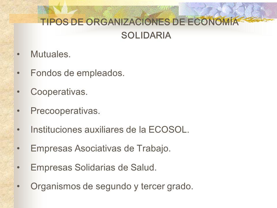 TIPOS DE ORGANIZACIONES DE ECONOMÍA SOLIDARIA