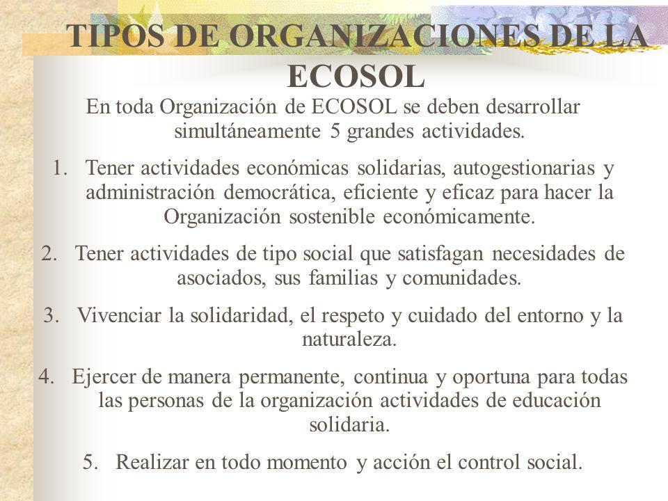 TIPOS DE ORGANIZACIONES DE LA ECOSOL
