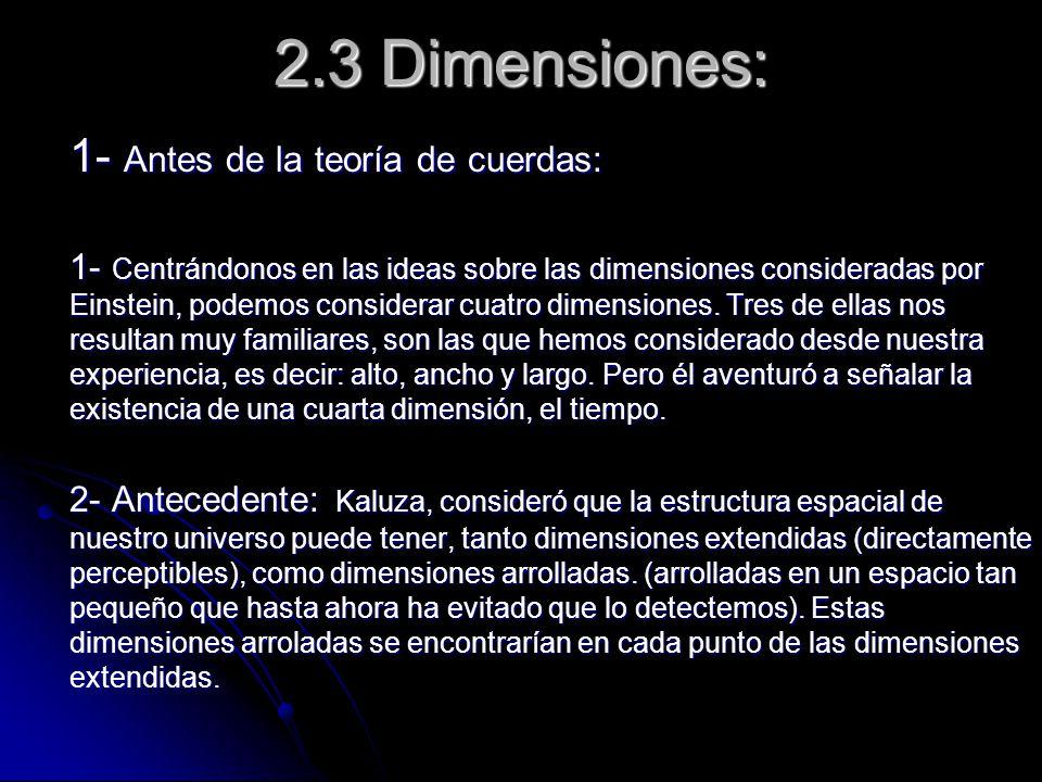 2.3 Dimensiones: 1- Antes de la teoría de cuerdas: