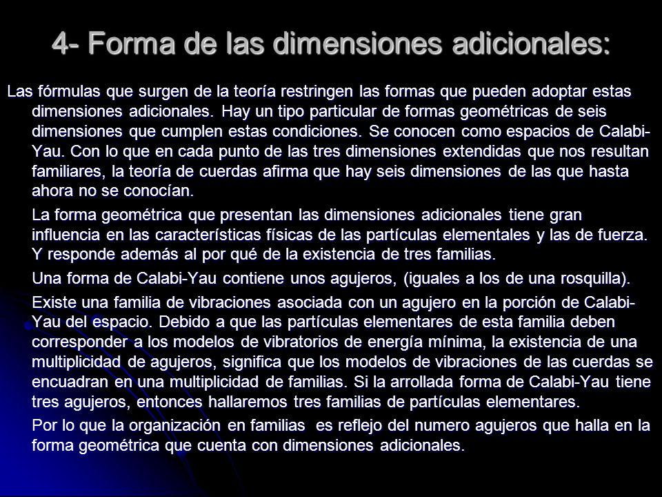 4- Forma de las dimensiones adicionales: