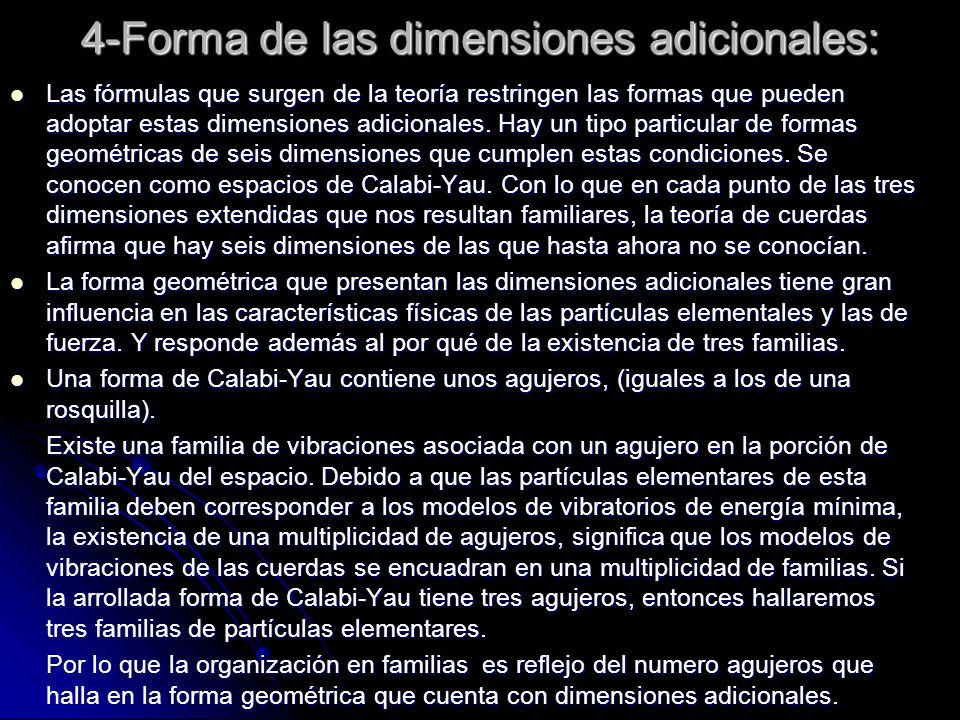 4-Forma de las dimensiones adicionales: