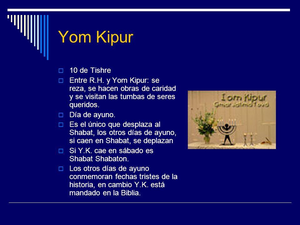 Yom Kipur 10 de Tishre. Entre R.H. y Yom Kipur: se reza, se hacen obras de caridad y se visitan las tumbas de seres queridos.