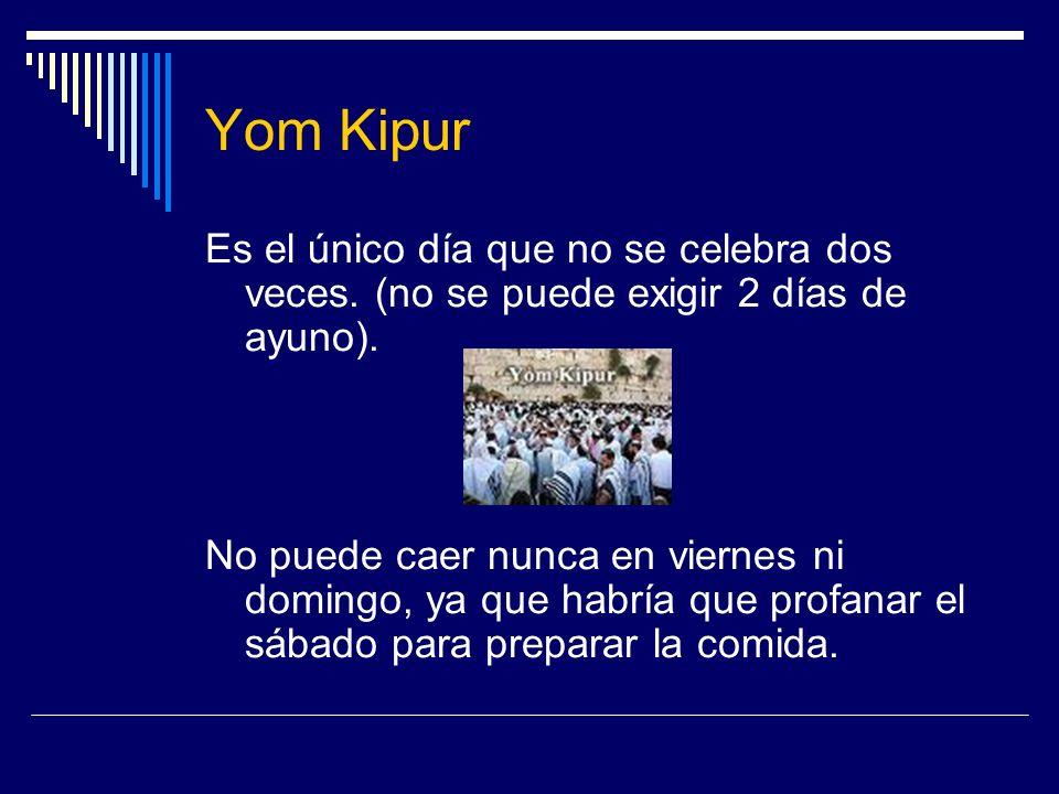 Yom KipurEs el único día que no se celebra dos veces. (no se puede exigir 2 días de ayuno).
