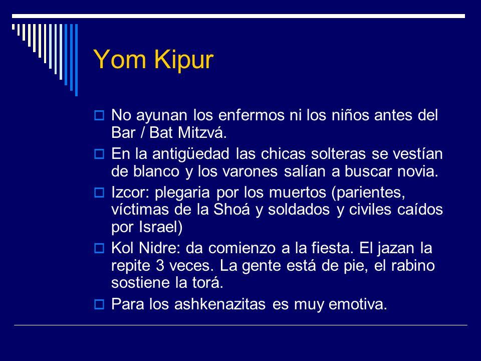 Yom KipurNo ayunan los enfermos ni los niños antes del Bar / Bat Mitzvá.