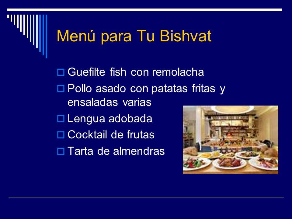 Menú para Tu Bishvat Guefilte fish con remolacha