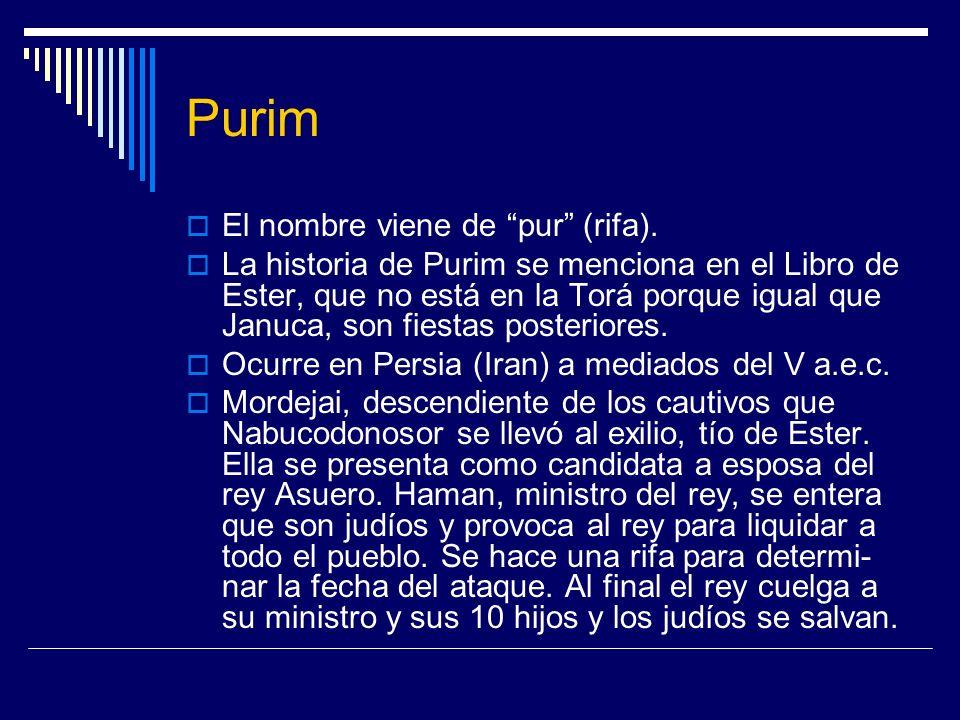 Purim El nombre viene de pur (rifa).