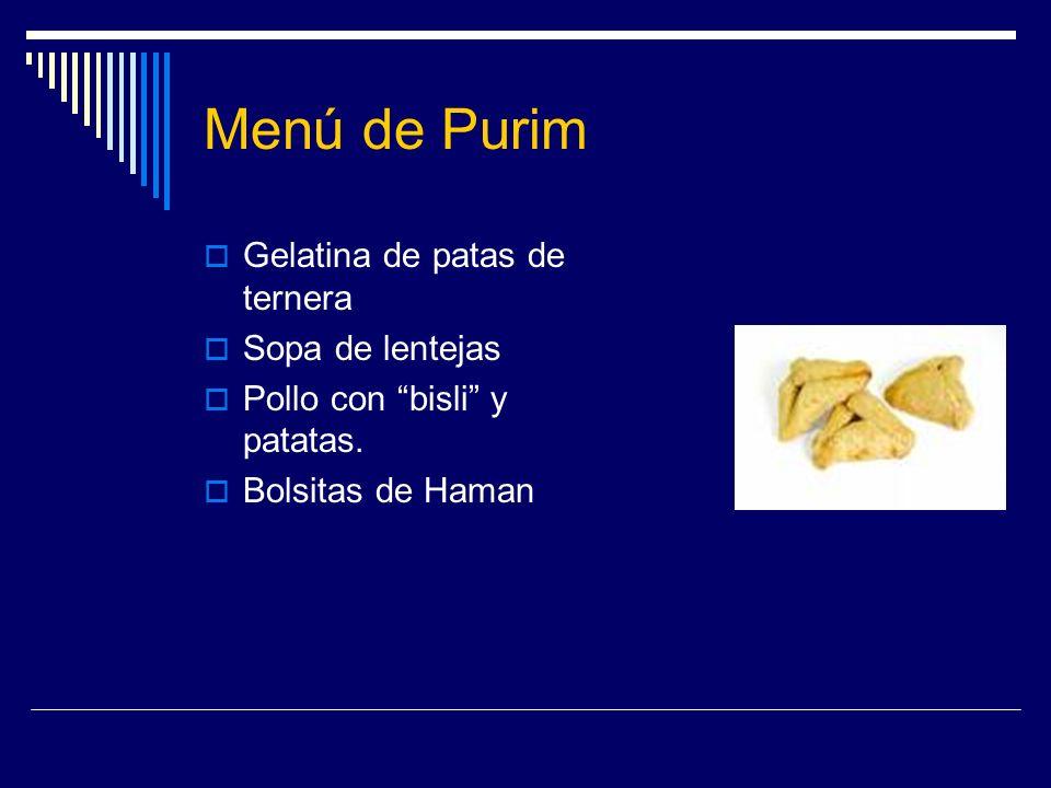 Menú de Purim Gelatina de patas de ternera Sopa de lentejas