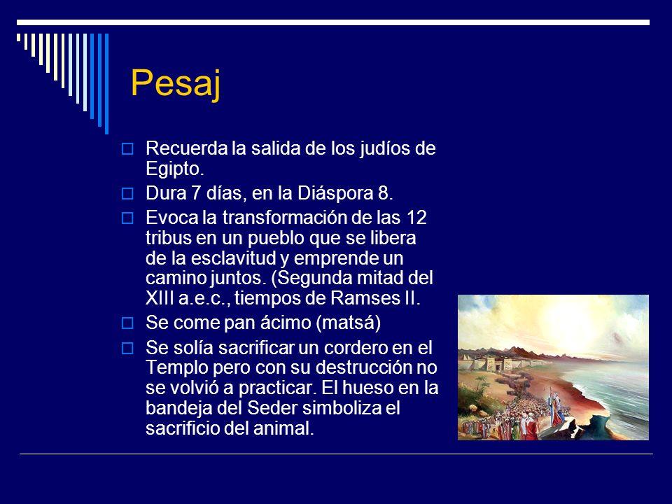 Pesaj Recuerda la salida de los judíos de Egipto.