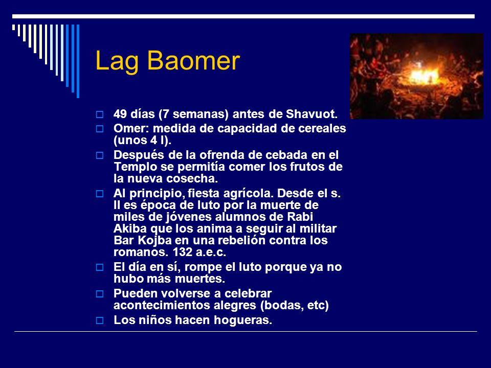 Lag Baomer 49 días (7 semanas) antes de Shavuot.