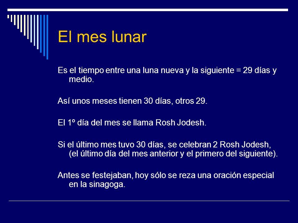 El mes lunarEs el tiempo entre una luna nueva y la siguiente = 29 días y medio. Así unos meses tienen 30 días, otros 29.