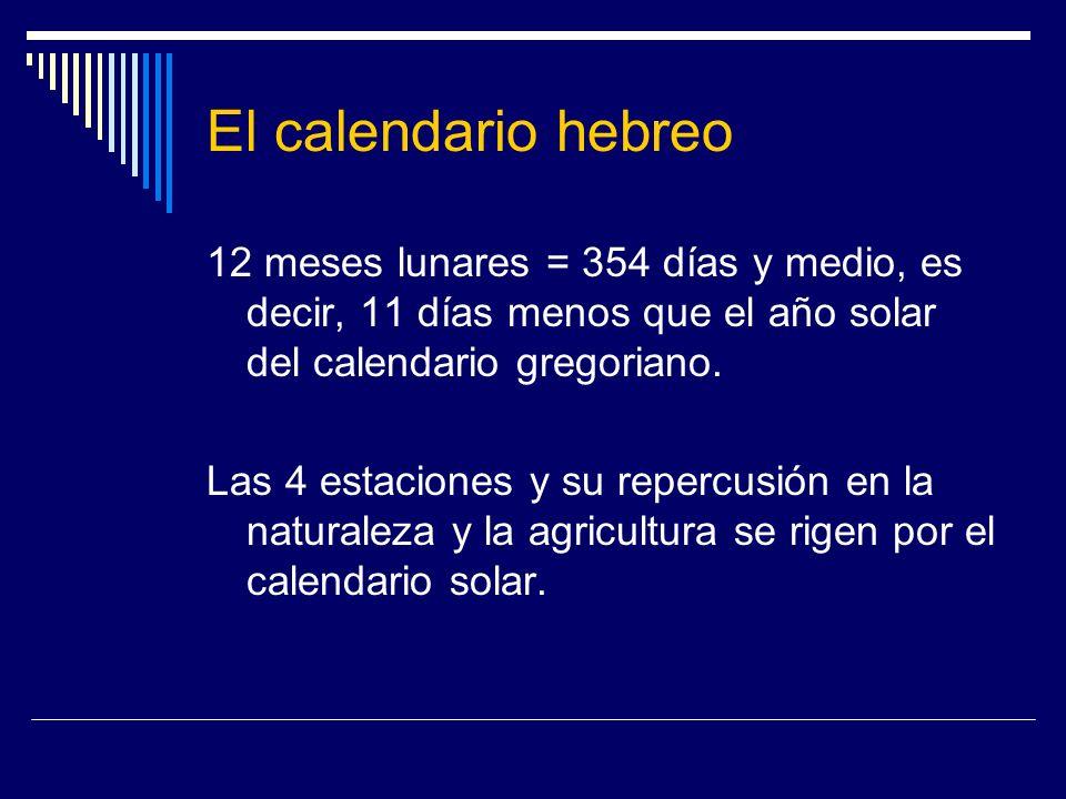 El calendario hebreo12 meses lunares = 354 días y medio, es decir, 11 días menos que el año solar del calendario gregoriano.