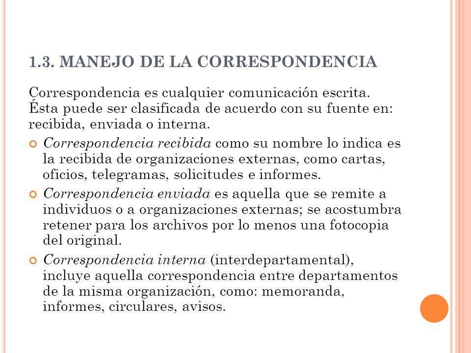 1.3. MANEJO DE LA CORRESPONDENCIA