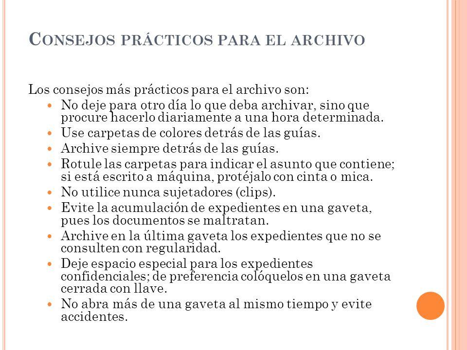 Consejos prácticos para el archivo