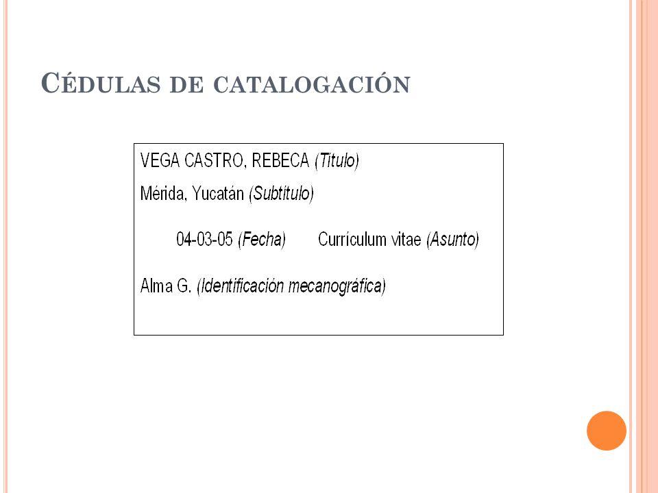 Cédulas de catalogación