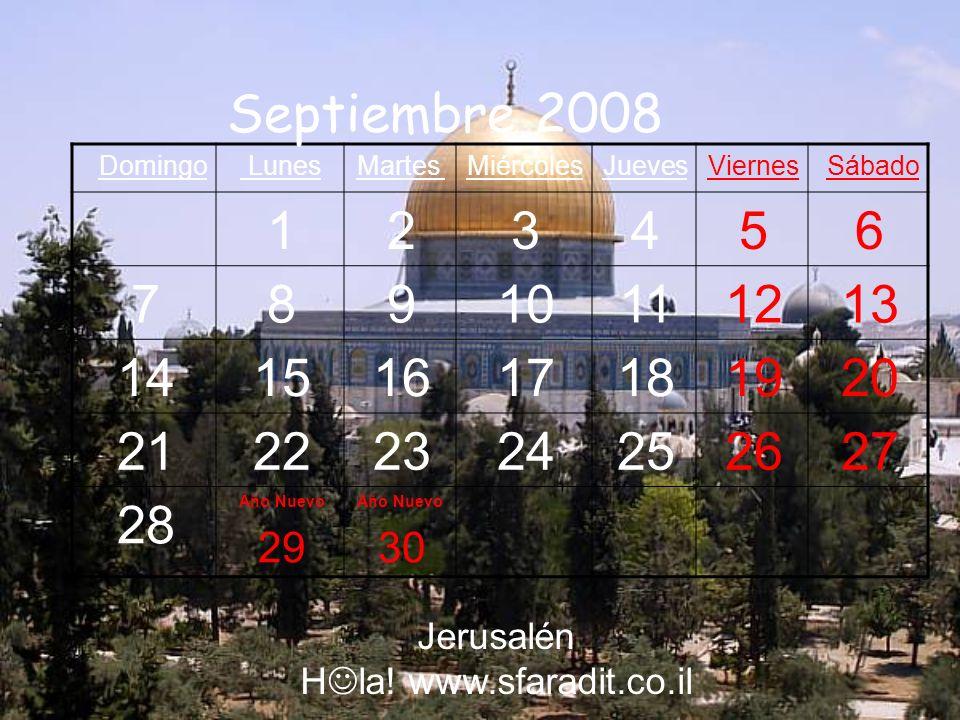 Septiembre 2008 Sábado. Viernes. Jueves. Miércoles. Martes. Lunes. Domingo. 6. 5. 4. 3. 2.
