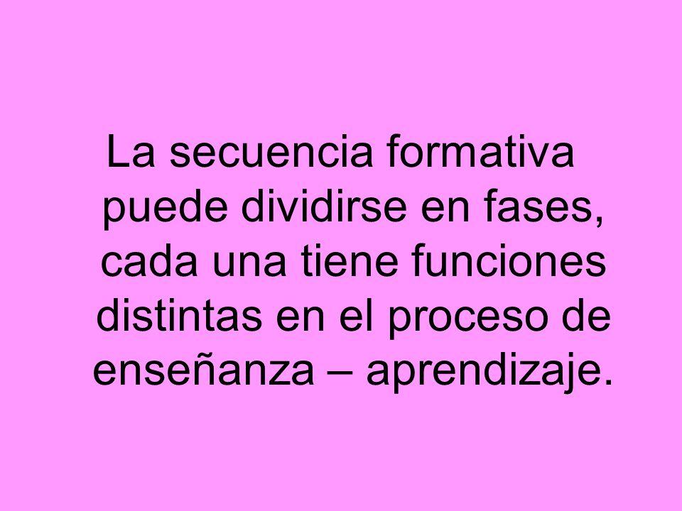 La secuencia formativa puede dividirse en fases, cada una tiene funciones distintas en el proceso de enseñanza – aprendizaje.