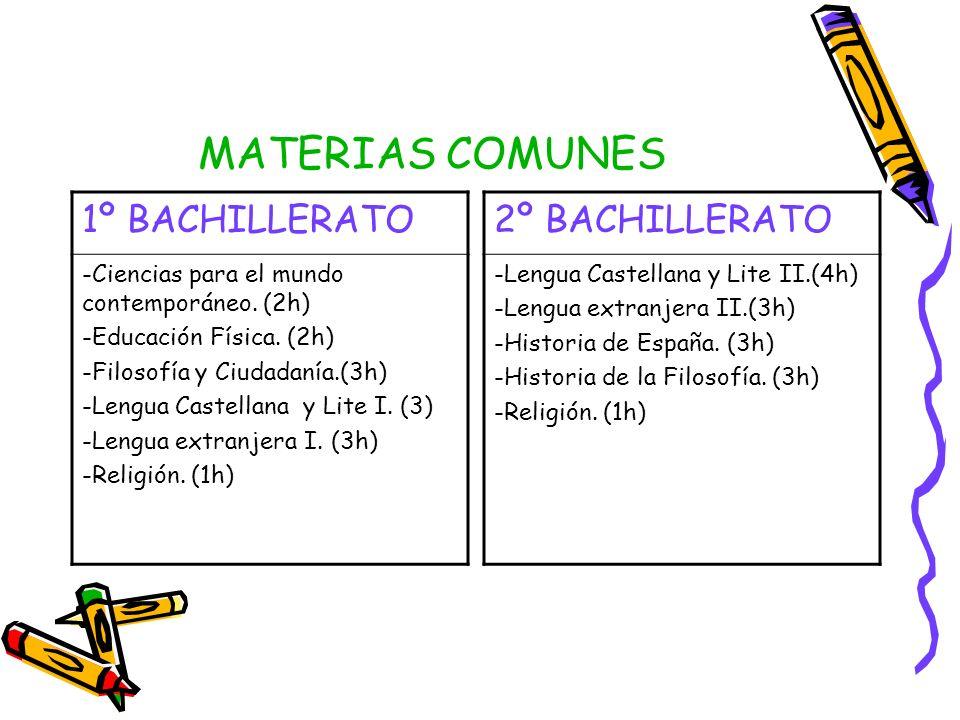 MATERIAS COMUNES 1º BACHILLERATO 2º BACHILLERATO