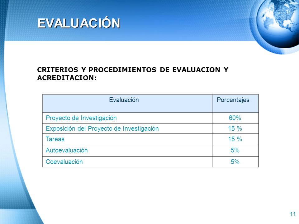 EVALUACIÓN CRITERIOS Y PROCEDIMIENTOS DE EVALUACION Y ACREDITACION: