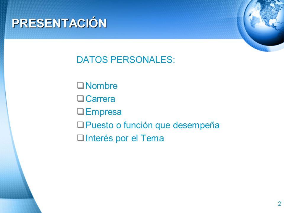 PRESENTACIÓN DATOS PERSONALES: Nombre Carrera Empresa
