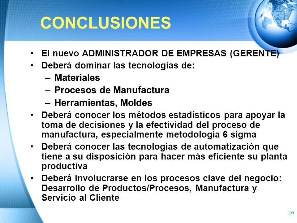CONCLUSIONES Materiales Procesos de Manufactura Herramientas, Moldes