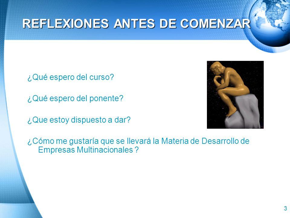 REFLEXIONES ANTES DE COMENZAR