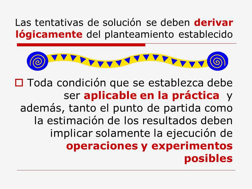 Las tentativas de solución se deben derivar lógicamente del planteamiento establecido