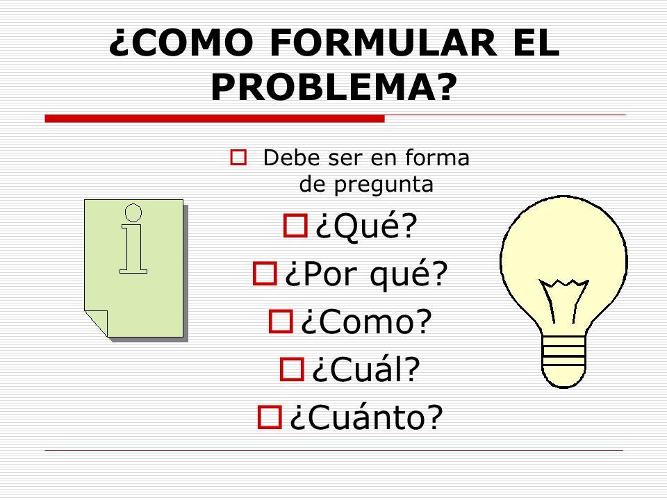 ¿COMO FORMULAR EL PROBLEMA