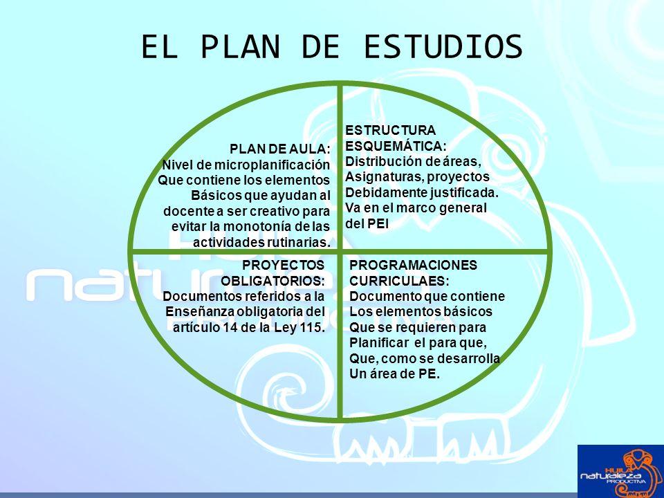 EL PLAN DE ESTUDIOS ESTRUCTURA ESQUEMÁTICA: Distribución de áreas,