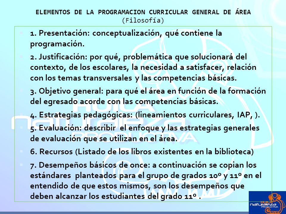 ELEMENTOS DE LA PROGRAMACION CURRICULAR GENERAL DE ÁREA (Filosofía)