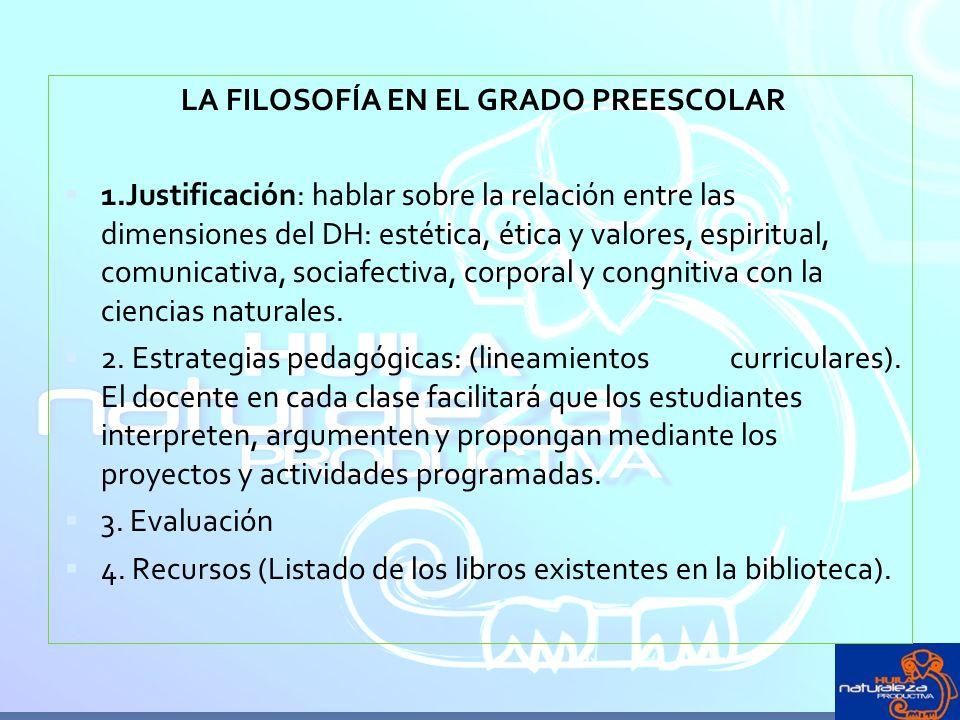 LA FILOSOFÍA EN EL GRADO PREESCOLAR