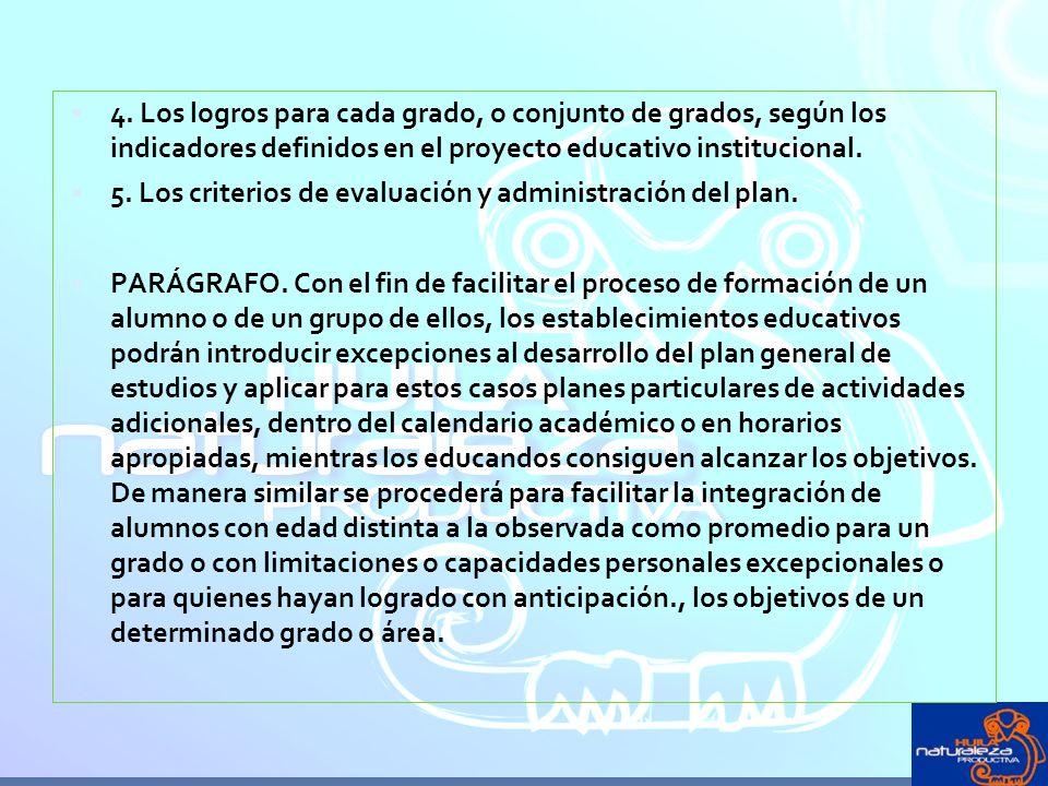 4. Los logros para cada grado, o conjunto de grados, según los indicadores definidos en el proyecto educativo institucional.