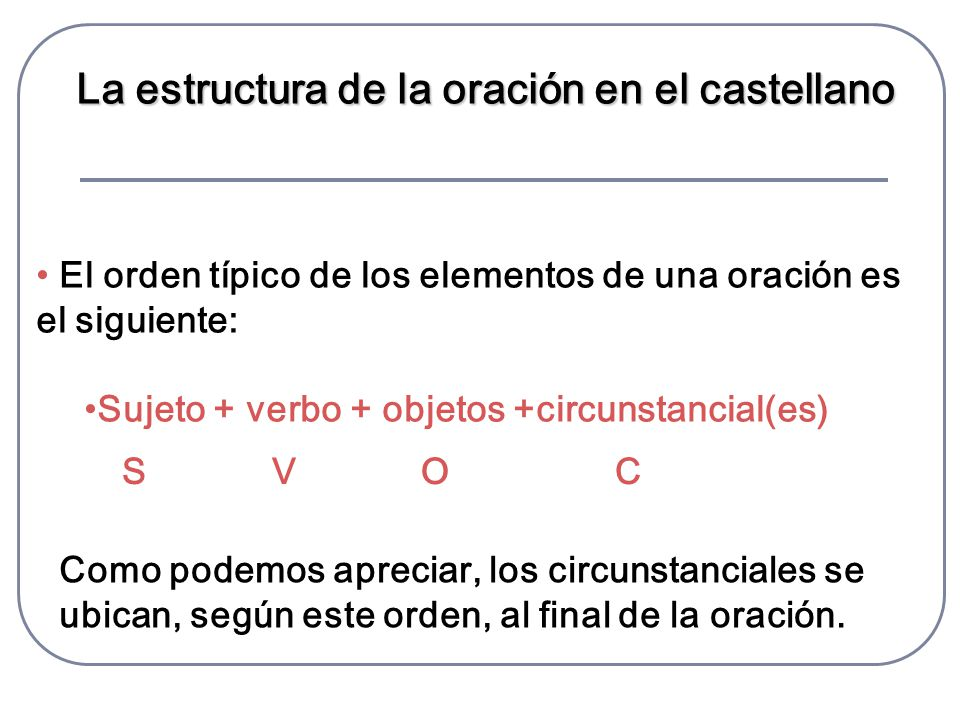La estructura de la oración en el castellano